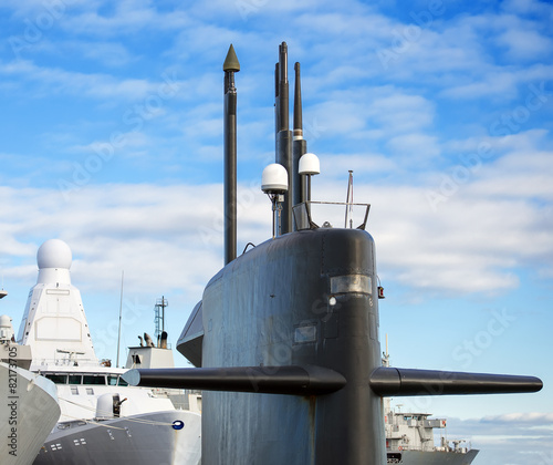 Fotografie, Tablou Naval fleet. Submarine and warships with guns.