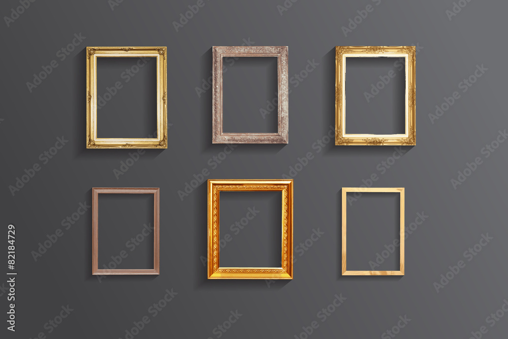 Fototapety, obrazy: Set of vintage classic picture wood frame,EPS vector