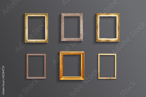 Fotografia  Set of vintage classic picture wood frame,EPS vector