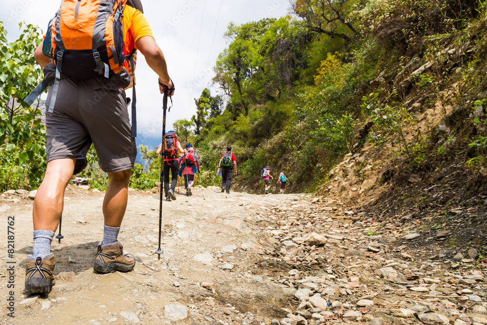 Fototapety, obrazy: A group of people trekking on dirt road in Nepal