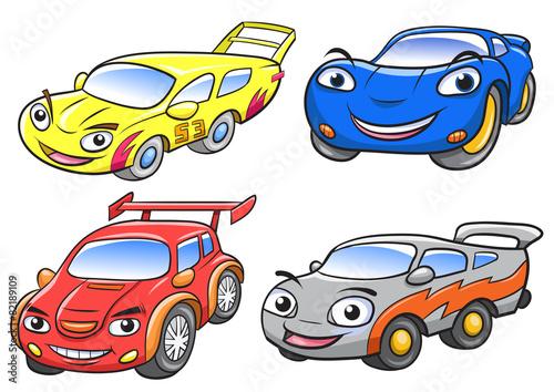 Staande foto Cartoon cars Vector illustration of cute cartoon racing car characters.