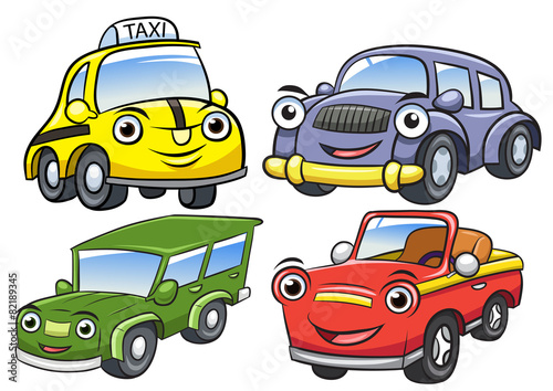 Spoed Foto op Canvas Cartoon cars Vector illustration of cute cartoon car characters