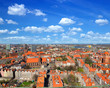 Gdansk panorama, aerial view from cathedral tower, Poland