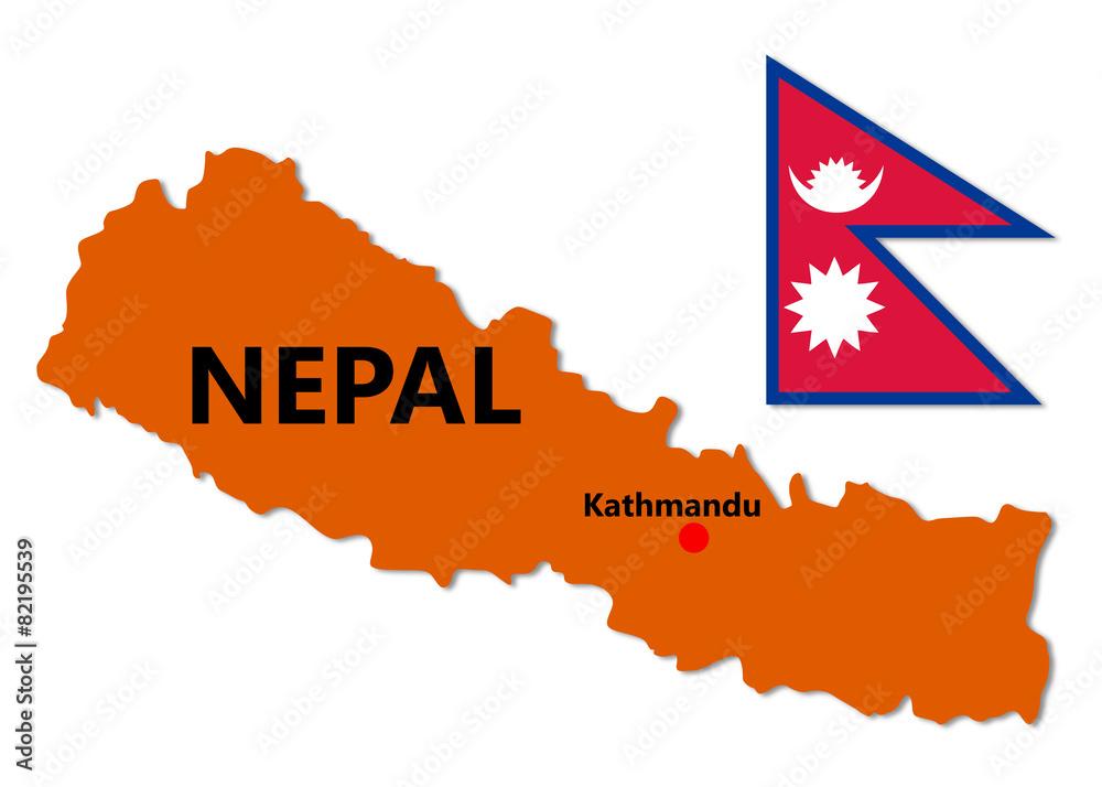 Nepal Map and Flag Foto, Poster, Wandbilder bei EuroPosters