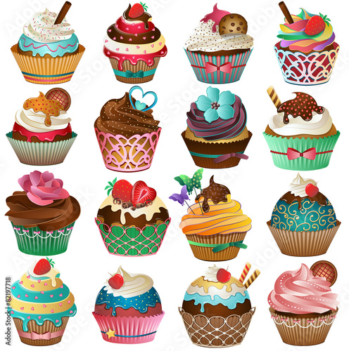 Cupcake Set Vector Canvas Print