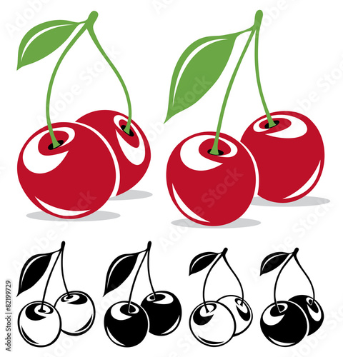 Vector cherries in color and black and white Wall mural