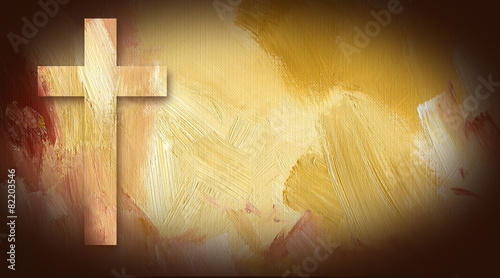 Canvas Print Calvary Cross graphic on painted texture background