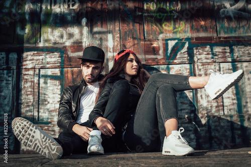 Young urban couple posing Canvas Print