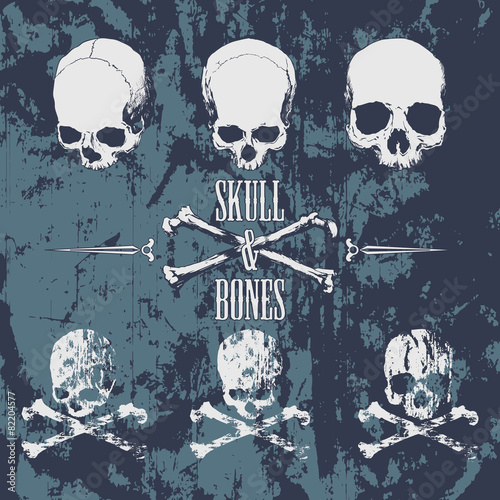 Skulls and cross bones on the grunge background Poster