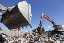 Machinery Working In Landfill