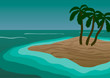 Vector Illustration. Island with palm trees in the ocean.