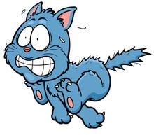 Vector Illustration Of Scared Cartoon Cat