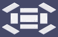 Isometric Generic White Computer Keyboard With Blank Keys