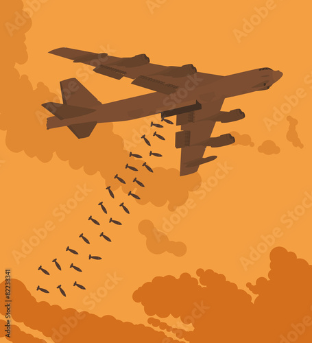 Leinwand Poster Heavy bomber dropped the bombs