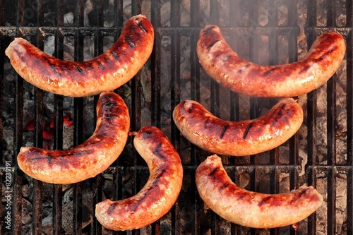 BBQ Bratwurst Sausages On The Hot Grill, Top View - 82239191