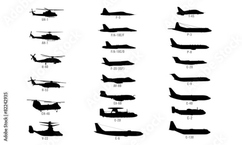 US Modern Military Aircraft Silhouettes Vector Illustrations Canvas Print