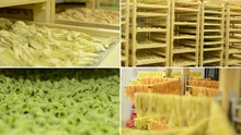 Montage - Dried Pasta In Regals And On Racks
