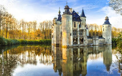 In de dag Antwerpen fairytale medieval castles of Europe.Belgium, Antwerpen region