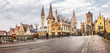 canvas print picture - panoramic image of medieval Ghent, Belgium