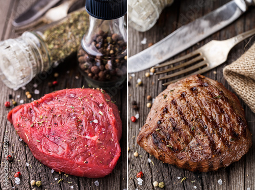 Fotografia, Obraz  Raw and grilled beefsteak on a wooden board