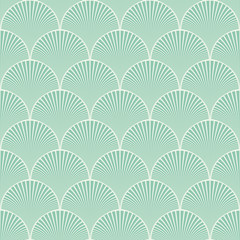 Fototapeta Seamless turquoise japanese art deco floral waves pattern vector