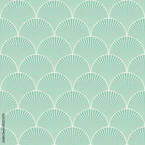 Seamless turquoise japanese art deco floral waves pattern vector