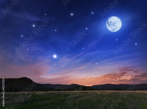 Foto op Plexiglas Donkerblauw Beautiful night sky with the full moon and stars