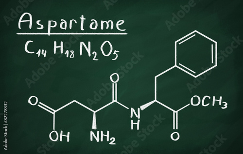 Chemical formula of Aspartame on a blackboard Wallpaper Mural