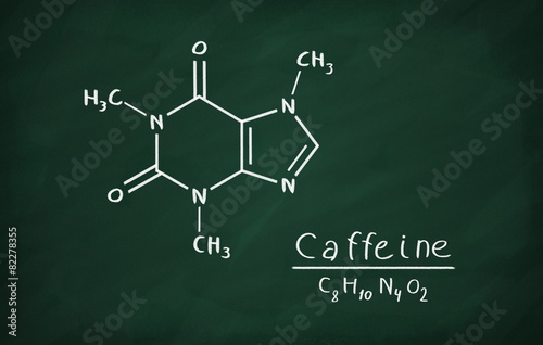 Fotografie, Obraz  Chemical formula of Caffeine on a blackboard