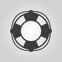 The Lifebuoy Icon. Lifebelt Symbol. Flat