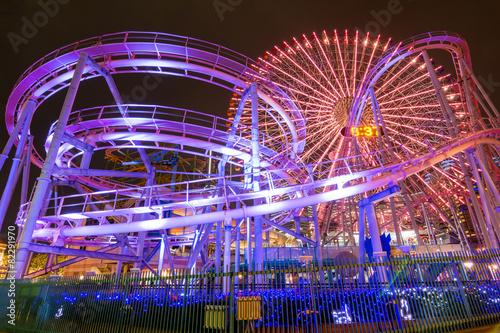 Papiers peints Attraction parc 横浜・遊園地夜景
