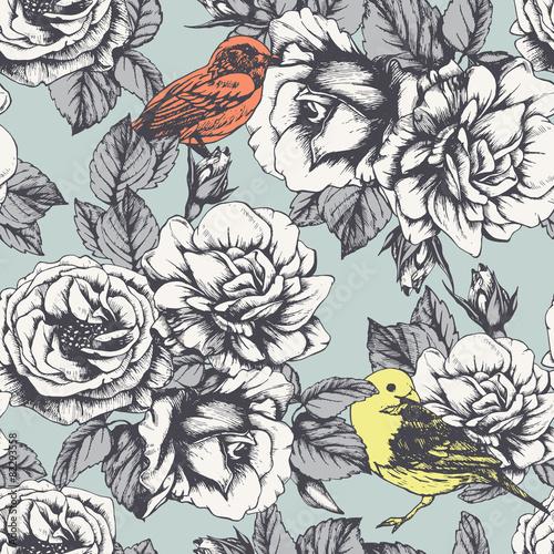 kwiatowy-wzor-z-recznie-rysowane-roz-i-ptakow-wektor