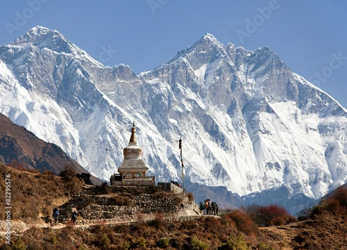 Wall Murals Nepal Stupa near Namche Bazar and Mount Everest, Lhotse