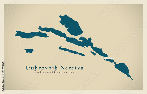 Photo Modern Map - Dubrovnik Neretva HR