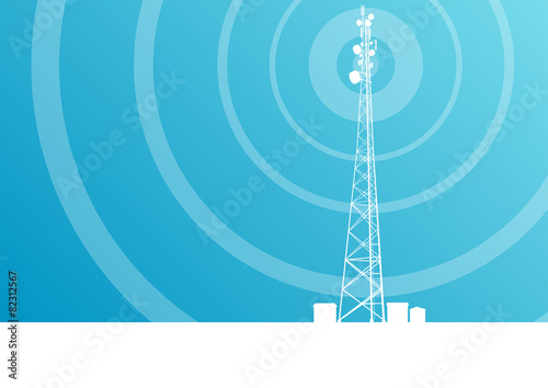 Valokuva Antenna transmission communication tower vector background