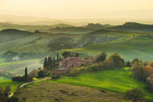 Tuscan Cypress Trees In The Spring Landscape Painted The Light O