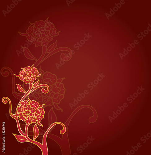 abstract gold flower for chinese new year background