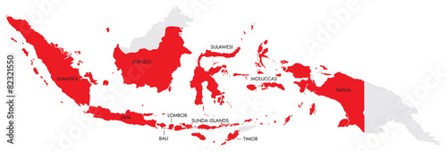 Cuadros en Lienzo Map of Indonesia with Provinces