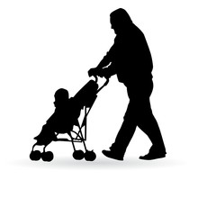 Man Pushing A Pram With A Small Child