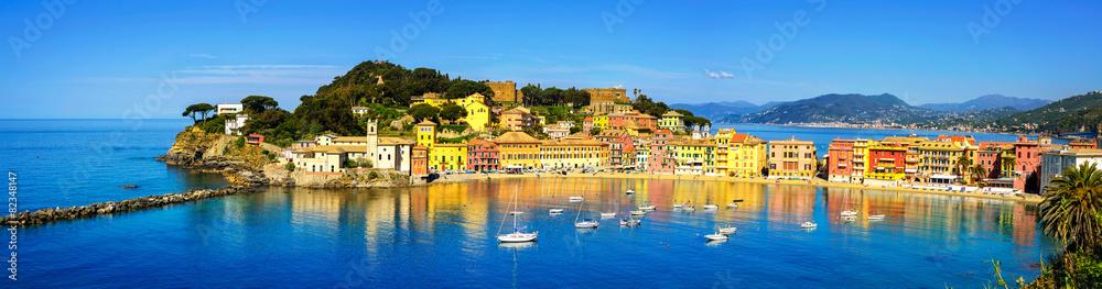 Fototapeta Sestri Levante, silence bay sea and beach panorama. Liguria, Ita
