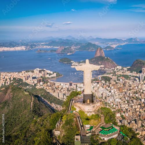 fototapeta na szkło Aerial view of Christ and Botafogo Bay, Rio de Janeiro
