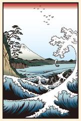 Panel Szklany Do sushi baru 歌川広重 冨士三十六景 駿河薩タ之海上イメージイラスト