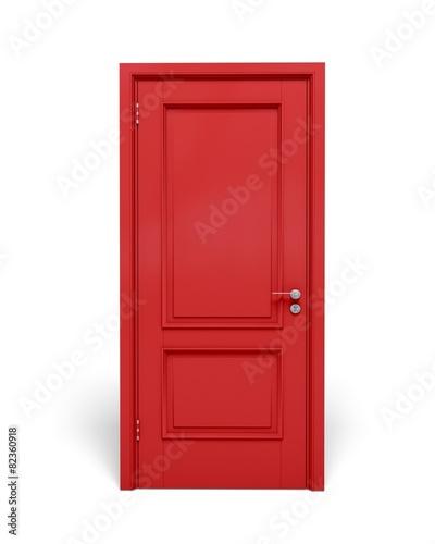 Photo Door. 3D. Closed red door