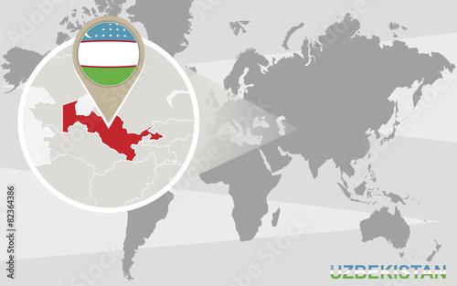 World map with magnified Uzbekistan – kaufen Sie diese ...
