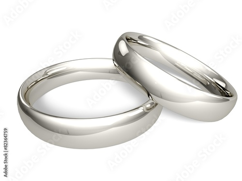Fotomural Wedding Ring. 3D. Two Platinum or Silver Wedding Rings -