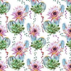Fototapeta Egzotyczne Watercolor cactus pattern