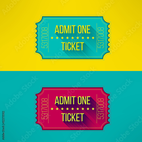 Fotografie, Obraz  Entry ticket in modern flat design with long shadow. Admit one