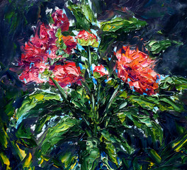 Obraz Abstract red flowers. Original oil painting on canvas