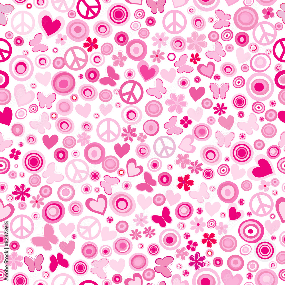 Pink flower power seamless background