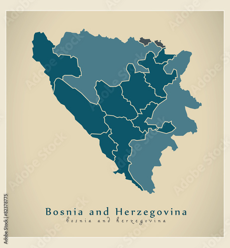 Modern Map - Bosnia and Herzegovina with cantons BA Canvas Print